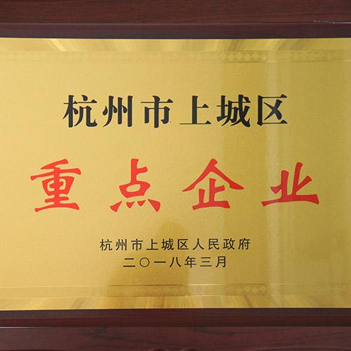 荣获杭州上城区重点企业称号