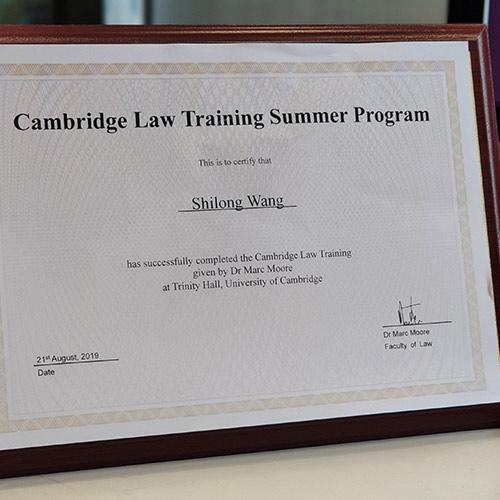 剑桥大学三一学院的马克·摩尔博士授予的证书